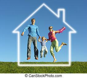 fliegen, glückliche familie, mit, traumhaus