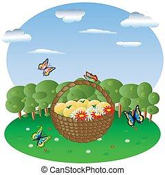 fliegen, himmelsgewölbe, lichtung, vlinders, wald, hintergrund, früchte, korb, blumen, ungefähr