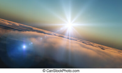 fliegen, in, wolkenhimmel, sonnenuntergang