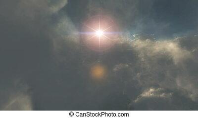 fliegen, in, wolkenhimmel