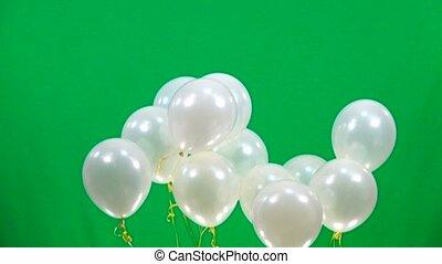 fliegen, langsam, schirm, auf, bewegung, grün weiß, luftballone