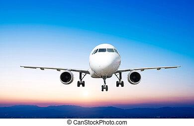 fliegen, passagier, start, aus, su, unten, flughafen, eben, startbahn