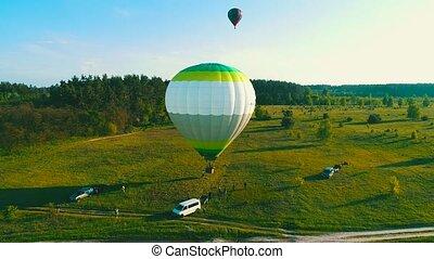 fliegen, sommer, gras, leute, ai, balloon, flight.,...