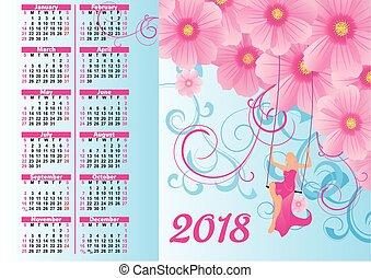 Blumen weinlese kalender 2018 illustration eps for Fliegen in blumen