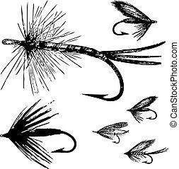 fliegen, vektor, satz, fischerei