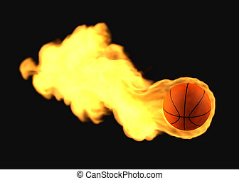 fliegendes, basketball, brennender