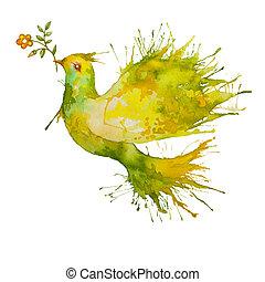 fliegendes, blume, taube, grün, zweig