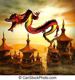 fliegendes, chinesischer drache