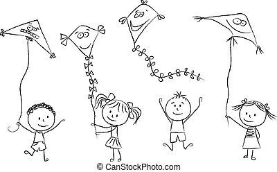 fliegendes, drachen, kinder