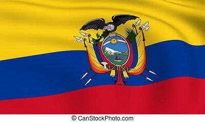 fliegendes, fahne, geschlungen, |, ekuador