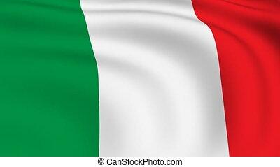 fliegendes, fahne, von, italien, |, geschlungen, |