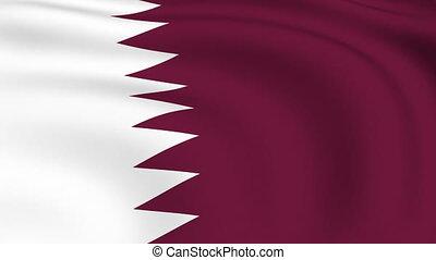 fliegendes, fahne, von, qatar, |, geschlungen, |