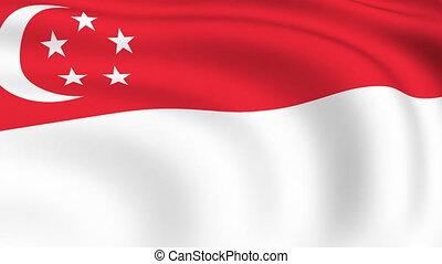 fliegendes, fahne, von, singapur, |, geschlungen, |