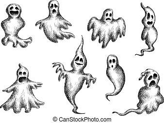 fliegendes, geister, spooks, halloween
