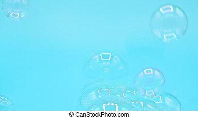 fliegendes, hintergrund., echte , seife, blaues, pastell,...