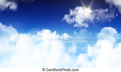 fliegendes, in, der, himmelsgewölbe