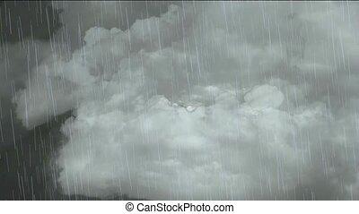 fliegendes, in, wolke, &, fallender , rain.