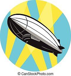 fliegendes, kleinluftschiff, oben, zeppelin, kreis, retro