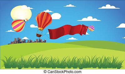 fliegendes, luft, heiß, balloon, kleingarten, stadt