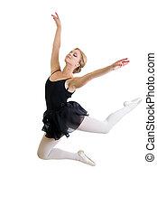 fliegendes, oder, springende , tänzer, m�dchen, freigestellt, weiß