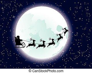 fliegendes, santa, und, vollmond