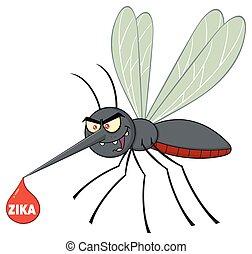 fliegendes, tropfen, moskito, blut