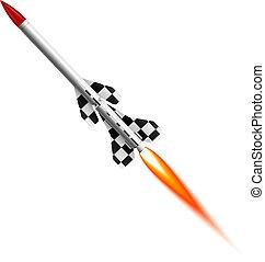 fliegendes, two-stage, rakete