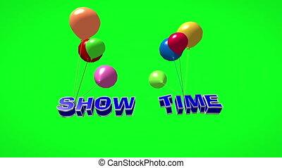 fliegendes, zeit, weisen, 3d, schirm, text, luftballone, ...