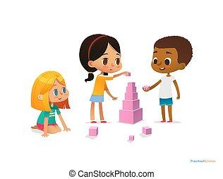 flieger, multirassisch, satz, kinder, vektor, advertisement., hell, website, kinder, spielen, abbildung, bauen, materialien, gefärbt, banner, blocks., gebrauchend, concept., turm, plakat, cubes., rosa, montessori