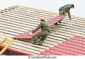 fliese, roofing, arbeit, metall