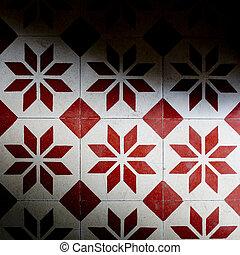 fliesenmuster, beschaffenheit, farben, hintergrund, weiß rot