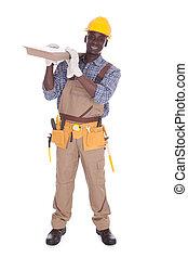 fliesenmuster, tragen, handwerker, boden