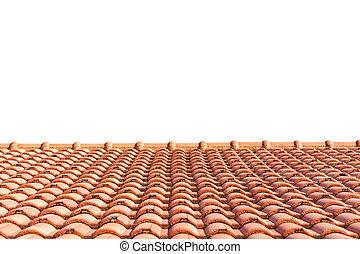 fliesenmuster, weißes, freigestellt, dach, rotes