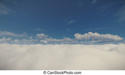 Flight above beautiful clouds against blue sky, 4K