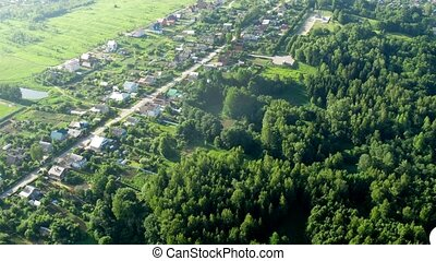 Flight above forest near Moscow in hot air balloon, view...