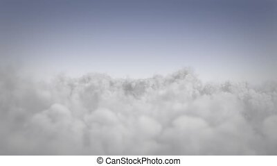 Flight above the clouds - View of cloudscape in sunny day