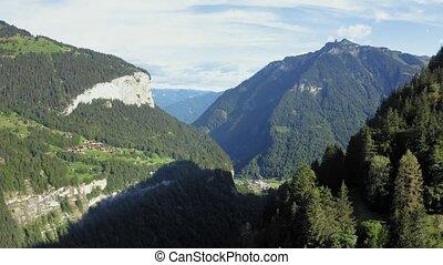 Flight above the Lauterbrunnen valley from Wengen in the Swiss Alps