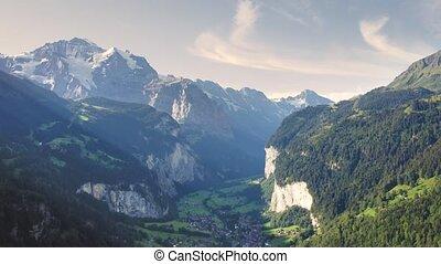 Flight above the Lauterbrunnen valley near Wengen in the Swiss Alps