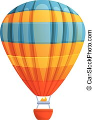Flight air balloon icon, cartoon style