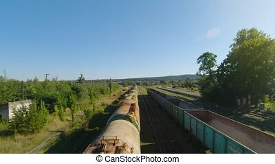 Flight along freight abandoned carriages. - Flight along ...