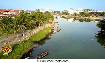 flight along waterfront with large palms - flight along...