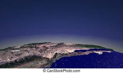 Flight America. CG. hd - Horizontal flight over North...