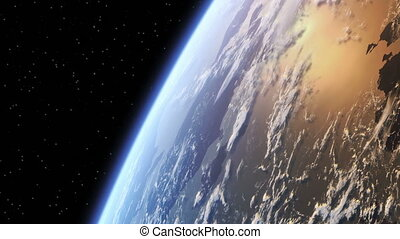 Flight Around The Earth. 3D Animation. Looped