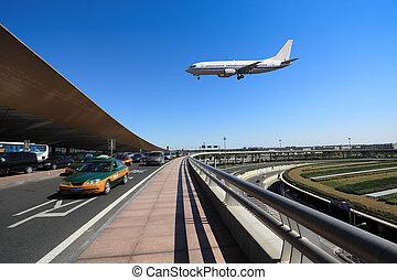 flight arrival  in the beijing capital airport