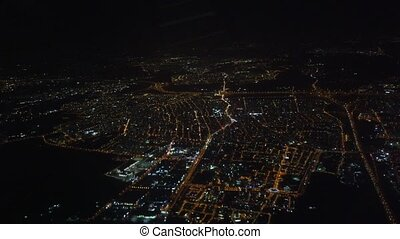 Flight Arrive Athens Greece At Night 1 - Over City.