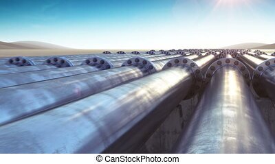 Flight at Many Pipelines. Looped 3d animation. HD 1080....