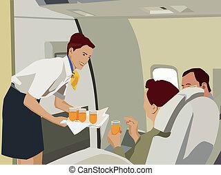 Flight attendant serving drinks to passengers in aeroplane