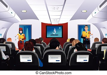 Flight attendant showing safety procedure to passengers - A...