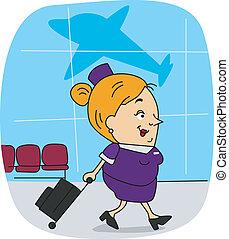 Flight Attendant - Illustration of a Flight Attendant at...