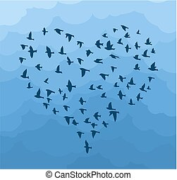 Flight birds in the form of heart.